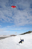 Jumping Snow Kiteboarder stock images