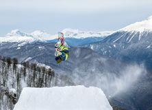 Snowboarder in mountain Royalty Free Stock Photo