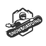Jumping snowboarder monochrome logo. Stock Photo
