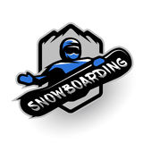 Jumping snowboarder, sport logo. Stock Photos