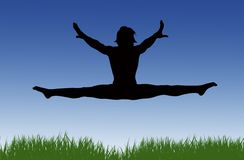 Jumping Splits Grass Royalty Free Stock Photos