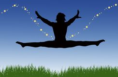 Jumping Splits Stars Royalty Free Stock Images