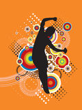 Jumping Sport Illustration. Illustrated silhouette of a person jumping in the air.  Orange background Stock Photos
