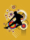 Jumping Sport Illustration. Illustrated silhouette of a person jumping in the air. Yellow background Royalty Free Stock Image