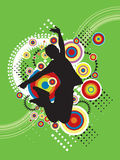 Jumping Sport Illustration. Illustrated silhouette of a person jumping in the air against a colorful retro design.  Green background Royalty Free Stock Photo