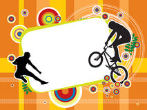 Jumping Sport Illustration. Illustrated silhouette of a person jumping in the air. Orange and yellow background Stock Photo