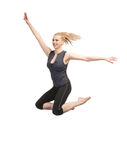 Jumping sporty girl Royalty Free Stock Images