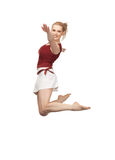 Jumping sporty girl Royalty Free Stock Photo