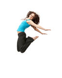 Jumping sporty girl Royalty Free Stock Photos