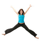 Jumping sporty girl Stock Images