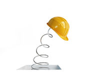 Jumping spring hard hat 3d on a white background Royalty Free Stock Photography