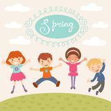 Jumping spring kids Royalty Free Stock Photos