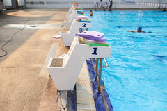 Jumping stantd swimming pool Stock Photos