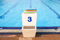 Jumping stantd swimming pool Stock Photo