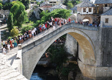 Jumping from Stari Most Royalty Free Stock Photography