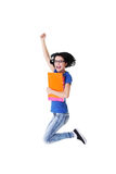 Jumping student girl Stock Images