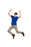 Jumping student. Shouting student jumping. Full length studio shot isolated on white Stock Images