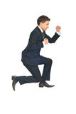 Jumping successful business man. Isolated on white background Stock Photography