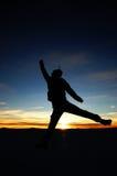 Jumping at Sunrise Royalty Free Stock Photo