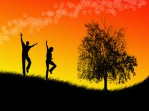 Jumping in the sunset. Black man and woman figures jumping in the sunset royalty free illustration