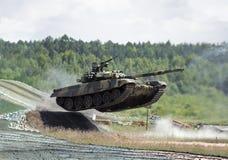 Jumping  tank. Jumping t-90 tank photo Royalty Free Stock Photography