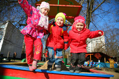 Jumping team in kindergarten2 Stock Photo