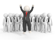 Jumping team leader - 3d people Stock Photo