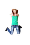 Jumping teen student showing okay gesture Royalty Free Stock Photography