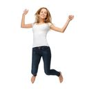 Jumping teenage girl in blank white t-shirt Stock Photo