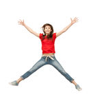 Jumping teenage girl Stock Photography