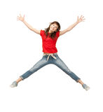 Jumping teenage girl Stock Photos