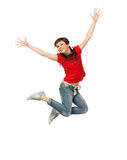 Jumping teenage girl Stock Photos