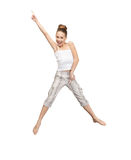 Jumping teenage girl. Bright picture of happy jumping teenage girl Stock Photography