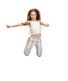 Jumping teenage girl. Bright picture of happy jumping teenage girl Royalty Free Stock Photography