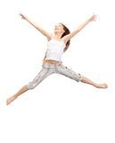 Jumping teenage girl. Bright picture of happy jumping teenage girl Stock Images
