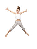 Jumping teenage girl. Bright picture of happy jumping teenage girl Stock Photo