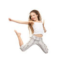 Jumping teenage girl. Bright picture of happy jumping teenage girl Stock Image