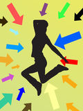 Jumping teenager. Illustration of arrows around a teenager silhouette Stock Images