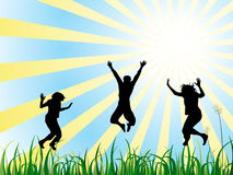 Jumping teenager. Illustration of jumping teenager silhouettes on a spring background Royalty Free Stock Photos