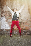 Jumping teenager boy Stock Photography
