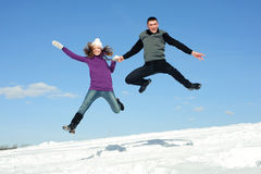 Jumping teenagers Stock Images