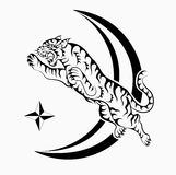 Jumping tiger tattoo. Jumping to star tiger tattoo vector royalty free stock images