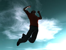 Jumping to the sky. Goal is reached... 3D rendered Illustration Stock Photography