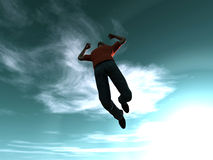 Jumping to the sky. Goal is reached... 3D rendered Illustration Stock Photo