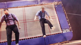 Jumping on trampoline in the circus stock video