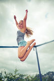 Jumping on a trampoline Royalty Free Stock Image