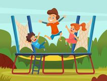 Jumping trampoline kids. Active children games on playground vector cartoon background royalty free illustration