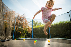 Jumping trampoline Stock Photos
