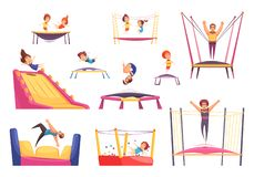 Jumping Trampolines Essentials Set. Jumping trampolines set of isolated images with trampolining people of different age and rebounders of different shape vector stock illustration