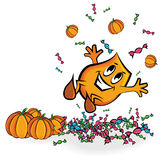 Jumping in treats and pumpkins royalty free illustration